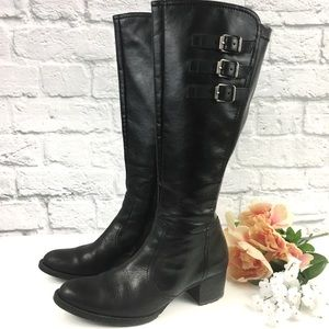 Paul Green Munchen Black Leather Tall Riding Boots